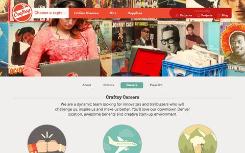 Screenshot of Jobs Page craftsy.com - Craftsy Careers - captured Oct. 10, 2014