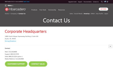Screenshot of Contact Page embarcadero.com - Contact Us - Embarcadero - captured July 14, 2019