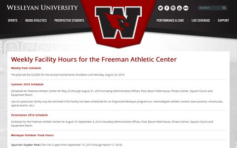 Screenshot of Hours Page wesleyan.edu - Weekly Facility Hours for the Freeman Athletic Center -  Wesleyan - captured Aug. 29, 2016