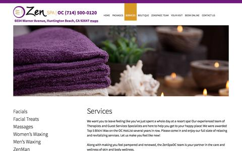 Screenshot of Services Page zenspaoc.com - Services | ZenSpaOC - captured Oct. 7, 2014