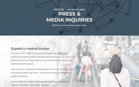 Screenshot of Press Page medigo.com - Press & Media Inquiries. MEDIGO - medical travel made simple. - captured Feb. 27, 2018
