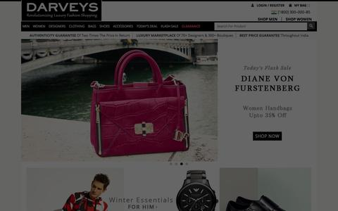 Screenshot of Home Page darveys.com - India's Destination to Luxury Fashion Shopping Online | Darveys - captured Jan. 20, 2016