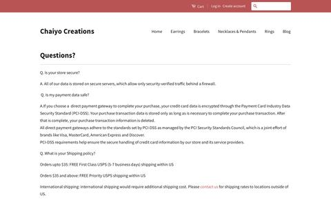 Screenshot of FAQ Page chaiyocreations.com - Chaiyo Creations Online Shopping Questions - captured July 12, 2016