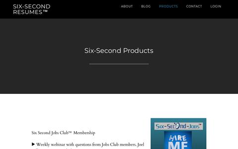Screenshot of Products Page six-second-resumes.com - Six-Second Products - Six-Second Resumes™ - captured Oct. 24, 2018