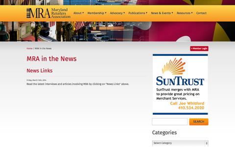 Screenshot of Press Page mdra.org - MRA in the News Archive » Maryland Retailers Association - captured Oct. 27, 2014