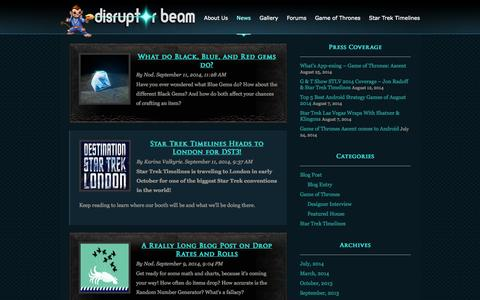 Screenshot of Press Page disruptorbeam.com - News | Disruptor Beam - captured Sept. 15, 2014
