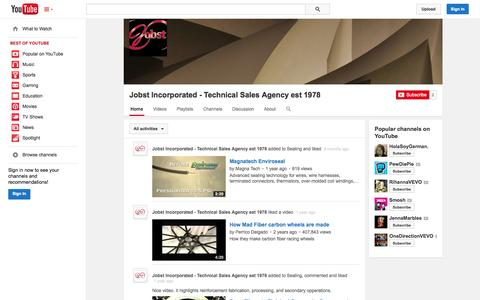 Screenshot of YouTube Page youtube.com - Jobst Incorporated - Technical Sales Agency est 1978  - YouTube - captured Oct. 23, 2014