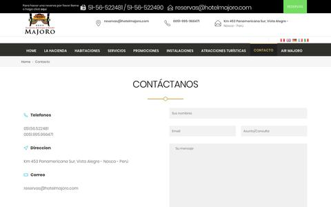 Screenshot of Contact Page hotelmajoro.com - Contacto - Hotel Majoro - captured Dec. 16, 2018