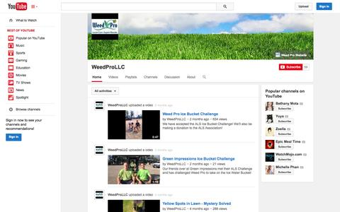 Screenshot of YouTube Page youtube.com - WeedProLLC  - YouTube - captured Oct. 25, 2014