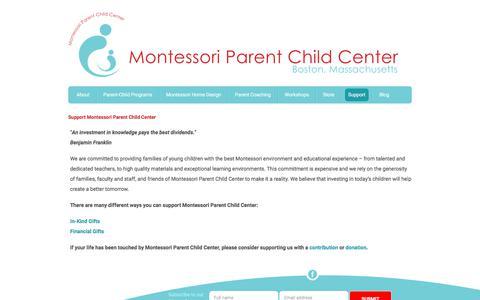 Screenshot of Support Page montessoriparentchildcenter.org - Montessori Parent Child Center – Boston, Massachusetts - Support Montessori Parent Child Center - captured July 9, 2018