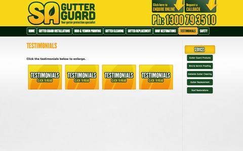 Screenshot of Testimonials Page sagutterguard.com.au - Gutter Protection | SA Gutter Guard - captured Oct. 4, 2014