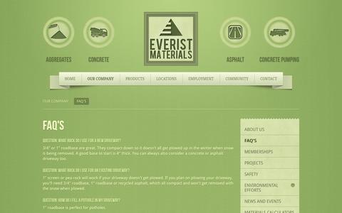 Screenshot of FAQ Page everistmaterials.com - FAQ's - captured Oct. 3, 2014