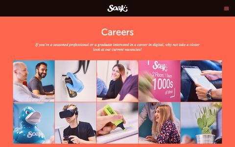 Screenshot of Jobs Page soak.co.uk - Careers | Soak Digital - captured Oct. 19, 2018
