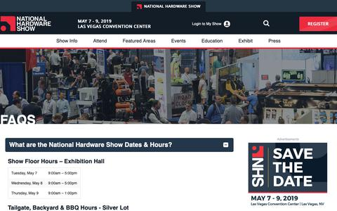 Screenshot of FAQ Page nationalhardwareshow.com - FAQs - NationalHardwareShow - captured Dec. 11, 2018