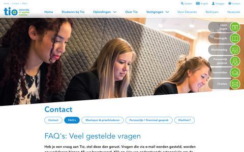 Screenshot of FAQ Page tio.nl - FAQ's: Veel gestelde vragen aan Hogeschool Tio - captured Aug. 15, 2017