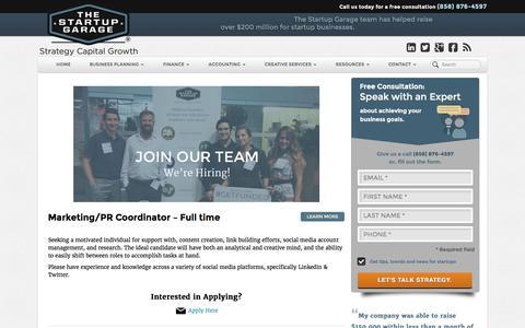 Screenshot of Jobs Page thestartupgarage.com - Careers | The Startup Garage - captured Aug. 15, 2016