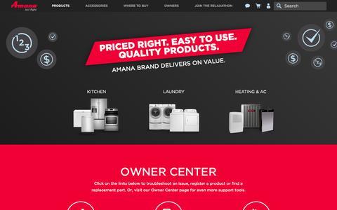 Screenshot of Home Page amana.com - Amana | Amana Appliances - captured Nov. 16, 2015