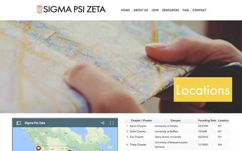 Screenshot of Locations Page sigmapsizeta.org - Locations — SIGMA PSI ZETA - captured Nov. 13, 2017