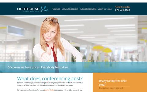 Screenshot of Pricing Page lighthouseconferencing.com - Pricing - Webinar Cost - Lighthouse Conferencing - captured Dec. 10, 2015