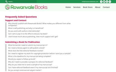 Screenshot of FAQ Page rowanvalebooks.com - Frequently Asked Questions - Rowanvale Books Ltd - captured Sept. 27, 2016