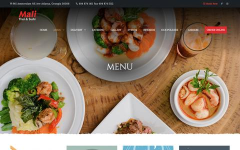 Screenshot of Menu Page malirestaurant.com - Menu – Mali Restaurant - captured Nov. 1, 2018