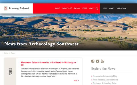 Screenshot of Press Page archaeologysouthwest.org - News | Archaeology Southwest - captured Sept. 27, 2018
