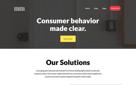 Screenshot of Home Page bomoda.com - Bomoda   Consumer Intelligence Company - captured July 3, 2016
