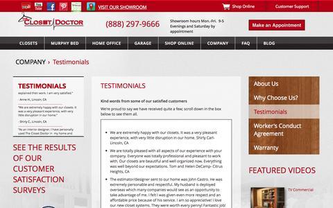 Screenshot of Testimonials Page closet-doctor.com - Testimonials | The Closet Doctor - captured Oct. 26, 2014