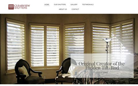 Screenshot of Home Page clearviewshutters.com - Clearview Shutters - Home - captured July 18, 2018