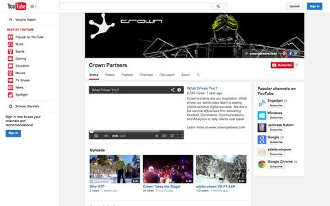 Screenshot of YouTube Page youtube.com - Crown Partners  - YouTube - captured Nov. 2, 2014