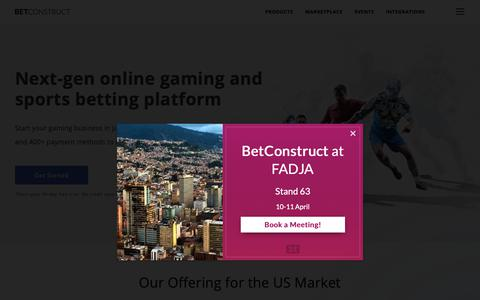 Screenshot of Home Page betconstruct.com - Jonathan says… - captured March 19, 2019