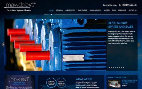 Screenshot of Home Page mawdsleysber.co.uk - Electric Motor Rewinds and Manufacture Bristol - Mawdsleys BER - captured Feb. 12, 2016