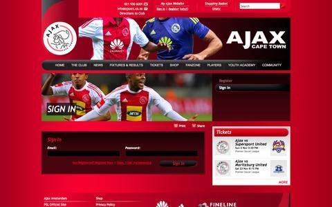 Screenshot of Login Page ajaxct.com - Sign in | Ajax Cape Town - captured Oct. 31, 2014