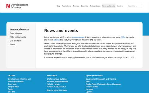 Screenshot of Press Page devinit.org - News and events - Development Initiatives - captured Oct. 5, 2014