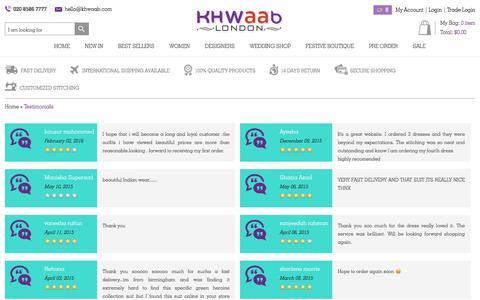 Screenshot of Testimonials Page khwaab.com - Reviews from Customers | Khwaab London - captured Feb. 2, 2016