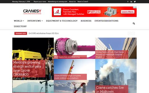 Screenshot of Home Page cranesy.com - CranesY – News. Interviews. Events. All about cranes & heavy lifting equipment. - captured Feb. 1, 2016