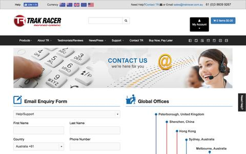 Screenshot of Contact Page trakracer.com.au - Contact Us - captured Aug. 16, 2016