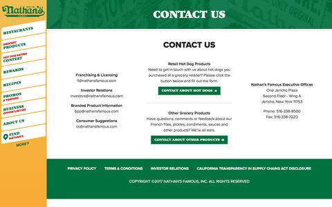 Screenshot of Contact Page nathansfamous.com - Contact Us | Nathan's Famous - captured July 3, 2017