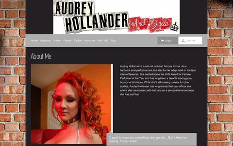 Screenshot of About Page theaudreyhollander.com - Audrey Hollander | About - captured Jan. 31, 2018