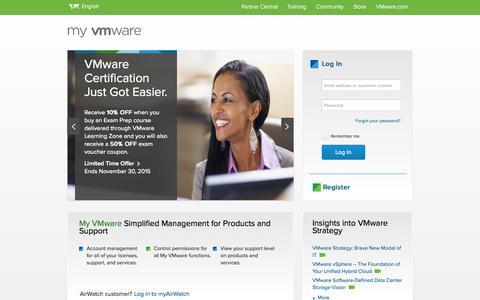 Screenshot of Login Page vmware.com - Login -  My VMware - captured Oct. 20, 2015