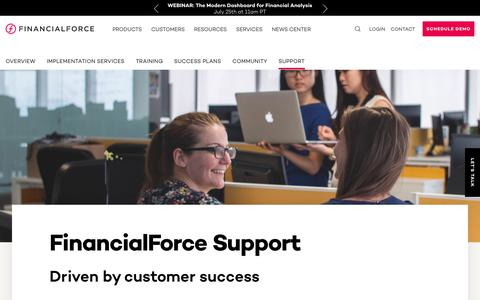 Screenshot of Support Page financialforce.com - Support and services built for you | FinancialForce - captured July 15, 2019
