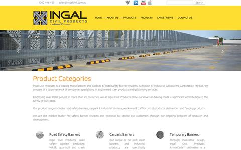 Screenshot of Products Page ingalcivil.com.au - Ingal Civil Product Categories - captured Oct. 12, 2018
