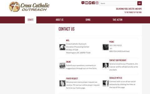 Screenshot of Contact Page crosscatholic.org - Contact Us — Cross Catholic Outreach - captured Dec. 16, 2018