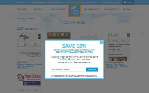 Screenshot of Press Page blockislandorganics.com - Press - Block Island Organics: Suncare + Skin Care + Sunscreen + Sunblock - captured Oct. 10, 2017