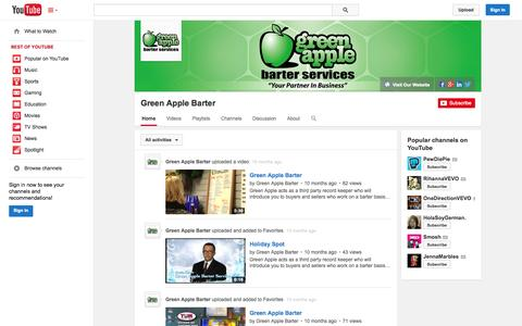 Screenshot of YouTube Page youtube.com - Green Apple Barter  - YouTube - captured Oct. 28, 2014