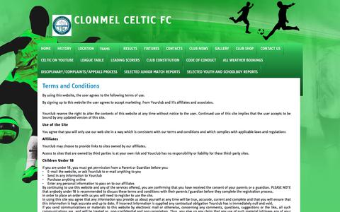 Screenshot of Terms Page yourclub.ie - CLONMEL CELTIC FC YOUR CLUB - - captured Feb. 18, 2018