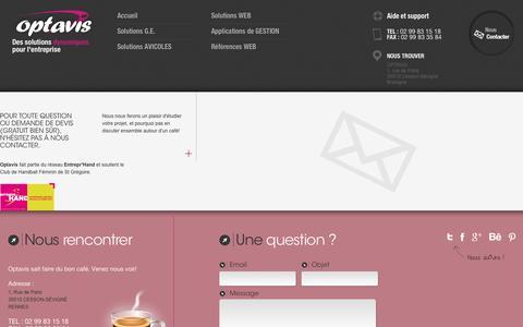 Screenshot of Contact Page optavis.fr - Refonte ou création de site web, développement application sur mesure : contacter Optavis, agence Bretagne - captured Dec. 19, 2016
