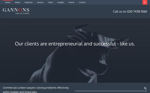 Screenshot of Home Page gannons.co.uk - Gannons Solicitors | Company and Commercial Law Firm in London - captured Nov. 4, 2018