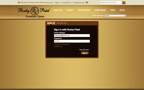 Screenshot of Login Page rockypatelasia.com - Customer Login - captured Oct. 9, 2014