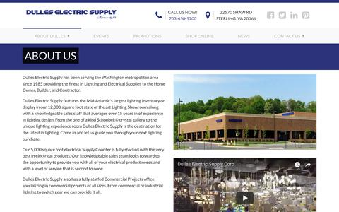 Screenshot of About Page dulleselectric.com - About Us | Dulles Electric Supply - captured Oct. 9, 2018